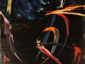 Flying Fish VI. (1990)   Oil on Canvas   100 x 50 cm