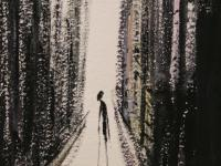 An old Woman alone in New York (1985)   Gouache on Paper 40 x 30 cm