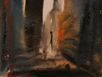Alone in N.Y. III. (1982)   Gouache on Paper   40 x 30 cm