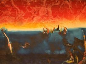 Sunset at Sea III. (1981) | Oil on Canvas | 80 x 130 cm