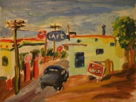Cafe in Los Angeles (1944)   Oil on Cardboard   25 x 32 cm