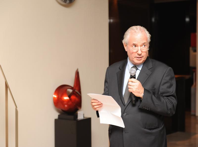 Amos Schueller taking his speech