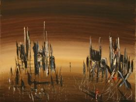 War in Sarajevo I. (1993) | Oil on Canvas | 60 x 70 cm