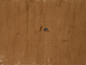Execution in Kabul Football Stadium (2001) | Sand on Canvas | 45 x 60 cm