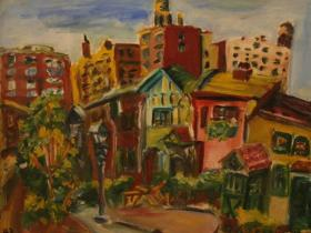Old Street in NY City (1943)   Oil on Canvas   41 x 50 cm