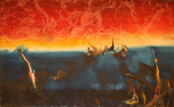 Sunset at Sea III. (1981) | Oil on Canvas | 80 x 130 cm