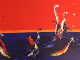 Dawn in Mexico (1988) | Acryl on Canvas | 81 x 130 cm