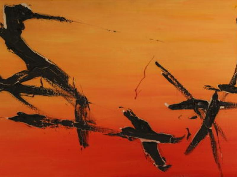 Orange Abstraction I. (1958) | Oil on Canvas | 60 x 120 cm